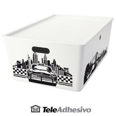 Decorar caja con motivos de Nueva York #vinilo #decoracion #pared #nueva #york #ny #new #york #caja #cubo #TeleAdhesivo Container, Decorate Box, Adhesive, Cubes, Decorated Boxes, New York City, Fabrics