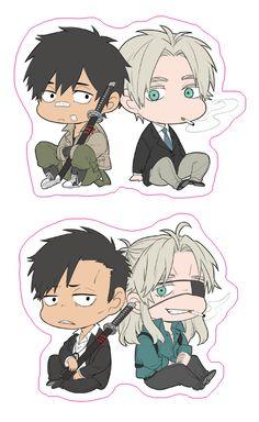 Gangsta -- how are they so cute? Manga Anime, Otaku Anime, Anime Chibi, Fandom Jokes, Cartoon Stickers, Tsundere, One Piece Manga, Manga Games, Manga Comics