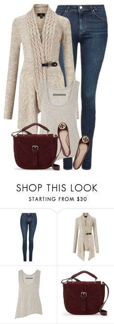 """""""Beige & Burgundy Outfit No.2"""" by coolchick1630 ❤ liked on Polyvore featuring Topshop, Lipsy, Enza Costa, IMoshion and Tory Burch"""