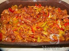 Recept Vepřová kýta gyros - Gyros peču v troubě. Czech Recipes, Ethnic Recipes, Paella, Chili, Recipies, Pork, Food And Drink, Low Carb, Menu