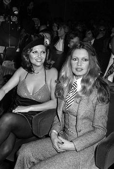 """magicofoldies: """"Claudia Cardinale & Brigitte Bardot At the premiere of Les Pétroleuses (1971). """""""