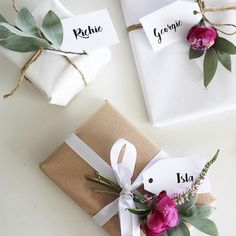 pretty wrapping with plain paper and fresh flowers, perfect for Mother's day or any spring or summer event