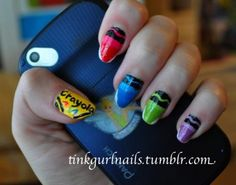 Crayon Nail Art Design Cute But I Don T Like Pointy Nails N Easy Designs Back To School