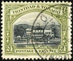 "Trinidad & Tobago  1935 Scott 40 24¢ olive green & black ""Government House"""