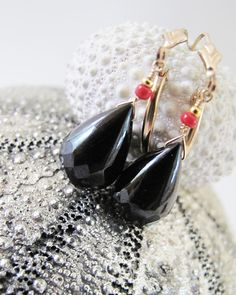 goddess of immortality earrings.  18ct fancy cut black spinel briolettes paired with tiny red coral on 14k gold fill. adove fine jewelry.