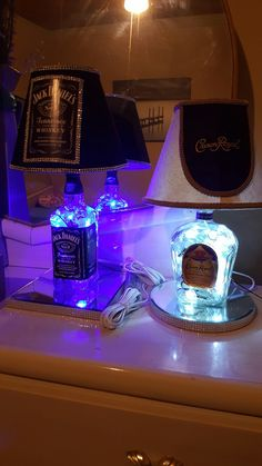 Unique Upcycled Jack Daniel's Lamp and Crown Royal Lamp I created