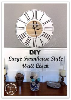 Free woodworking plans to build a DIY large farmhouse clock.  Add a beautiful piece of wall decor to your home with this personalized wall clock.  Great DIY gift idea for wedding, anniversary, Christmas, or Mother's Day or Father's Day!