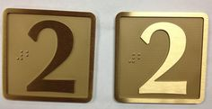 """Custom TRU-A bronze 3""""x3"""" with 1/8"""" jamb Braille plate with sandblasted background."""