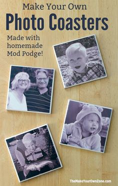 These homemade photo coasters are fun to make using ceramic tiles, homemade mod podge, and your favorite photos. Photo Tile Coasters, Picture Coasters, Homemade Coasters, Diy Coasters, Diy Photo, Photo Craft, Ceramic Tile Crafts, Resin Crafts, Mod Podge Photo Transfer