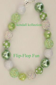 """Flip-Flop Fun"" Chunky Beaded Necklace for women, girls, kids"
