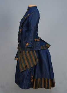 YOUNG GIRL'S SILK BUSTLE DRESS, 1870's