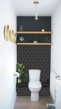 Kitchen and Bathroom Splashback - Removable Vinyl Wallpaper - Hexa Ebony - Peel ., ideas Kitchen and Bathroom Splashback - Removable Vinyl Wallpaper - Hexa Ebony - Peel . Diy Bathroom, Downstairs Bathroom, Bathroom Interior, Bathroom Designs, Bathroom Black, Bathroom Storage, Bathroom Toilets, Bathroom Accent Wall, Wall Paper Bathroom
