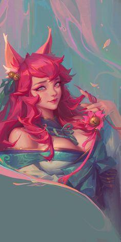 Lol League Of Legends, Fantasy Characters, Female Characters, Ahri Wallpaper, Desenhos League Of Legends, Ahri Lol, Ahri League, Girls Anime, Mobile Legends