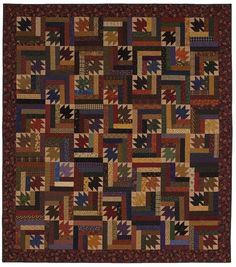Scattered Leaves: Add Log Cabin-like borders to adjoining edges of Maple Leaf units for pieced blocks that can be twisted and turned into a mazelike quilt. Scrappy Quilt Patterns, Quilt Blocks, Quilting Ideas, American Patchwork And Quilting, Pineapple Quilt, Log Cabin Quilts, Log Cabins, Turquoise Fabric, Fall Quilts