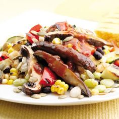 Black Bean & Hominy Succotash with Barbecued Portobello Mushrooms