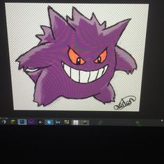 My finished Gengar with transparent background drawn using Wacom Bamboo drawing tablet and Photoshop.
