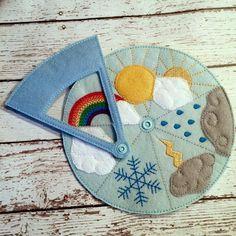 Weather wheel felt preschool kindergarten home school weather toy travel busy… Baby Quiet Book, Felt Quiet Books, Soft Toys Making, Quiet Book Templates, Fidget Blankets, Busy Book, Sewing For Kids, Felt Crafts, Kids And Parenting