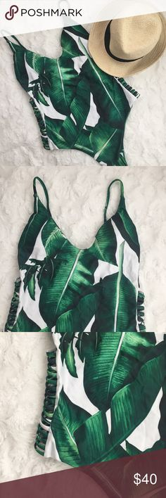 Banana Leaf One Piece Swimsuit Swimsuit season is calling! Lounge under the palm trees in this blogger-worthy one piece. Allover banana leaf print evokes an island vibe. Padded cups, strappy sides, dipped back, cheeky cut. Suit runs on the smaller side, please see measurements as posted in last picture. Bust and waist measurements posted as same but bust can fit larger around because of open back. (*Not recommended for cups larger than a C*) NO MODELS, NO TRADES, PRICE FIRM UNLESS BUNDLED…