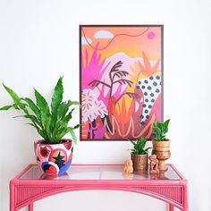 High Noon Art Print by Adrianne Hawthorne – Gussy Dup Art Prints Online, Desert Art, High Noon, Purple Sky, Magenta, India Art, Landscape Artwork, Removable Wall Decals, Beautiful Wall