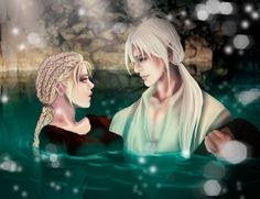 Liraz and Thiago (spoiler Ziri) in healing water. A scene from Daughter of Smoke and bones part 3 I think it's called the dreams of monsters and g. Laini Taylor, Red Rising, Daughter Of Smoke And Bone, Holly Black, Vampire Academy, Lunar Chronicles, Fan Art, The Smoke, Book Fandoms