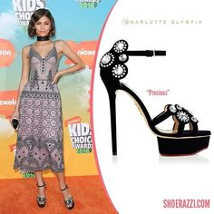 Zendaya Coleman wore Charlotte Olympia Precious sandals to the 2016 Nickelodeon Kids Choice Awards.
