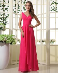 Chiffon V-neck Floor Length Natural Waist Bridesmaid Dress