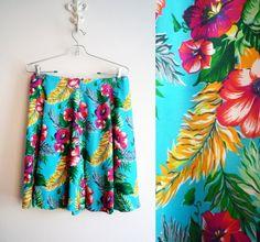 90s GAP Hawaiian Flared Mini Skirt Size 10 by ShantyIrishVintage #GAP #1990s #hawaiianskirt #miniskirt #womensvintage
