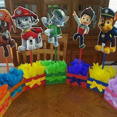 Paw Patrol Birthday Theme Centerpieces for Birthday Candy Buffet or Paw Patrol Favors Table Wood Handcrafted Paw Patrol Theme Party Set of 7 Birthday Candy, 4th Birthday Parties, 2nd Birthday, Birthday Party Centerpieces, Baseball Birthday, Baseball Party, Table Centerpieces, Paw Patrol Birthday Decorations, Paw Patrol Birthday Theme