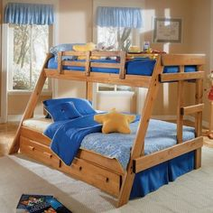Simple lines and the solid pine construction of the Savannah A-Frame Bunk Bed makes this twin-over-full bunk bed a handsome addition to your child's room. Part of the Heartland Collection this bunk bed has a rustic wood style preserved by a durable three-stage lacquer finish. A built-in ladder created from wood slats on the side makes for easy access to the top bunk. Safety rails line the top bunk to keep your child safe as he or she sleeps. A 36