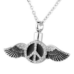 HooAMI Diamond Peace Sign Angel Wing Cremation Jewelry Memorial Urn Necklace *** Read more at the image link. (This is an affiliate link and I receive a commission for the sales) Religious Christmas Cards, Religious Gifts, Religious Jewelry, Memorial Urns, Cat Memorial, Cremation Jewelry, Image Link, Image Cat, Memories