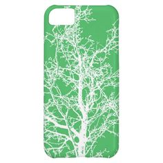 iphone5 case white tree on green case for iPhone 5C