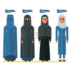 Types Of Vector Illustration Muslim Veils Stock Vector hijab niqab chador - Hijab