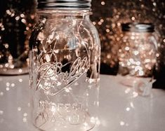 8 Rose Gold Wire Mason Jar centerpieces wedding Mason Jar   Etsy Jar Centerpiece Wedding, Mason Jar Centerpieces, Centerpiece Flowers, Centerpiece Ideas, Mason Jars, String Lights In The Bedroom, Led String Lights, Hanging Lights, Hanging Lamps