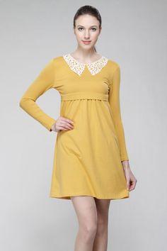 Citrine Lace Collar Nursing Dress / Maternity Dress - Breastfeeding Dress Pregnancy - yellow mustard floral lace peter pan collar - #L07a