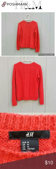 H&M Red Sweater This is an H&M Red Sweater in a medium.  Worn a few times and in excellent condition. The fabric is Acrylic and Mohair blend. H&M Sweaters