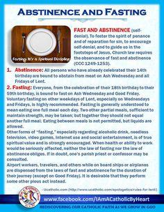 Abstinence and Fasting Catholic Lent, Catholic Catechism, Catholic Theology, Catholic Religious Education, Catholic Answers, Catholic Quotes, Catholic Prayers, Roman Catholic, Spiritual Words