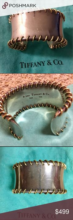 "Authentic Tiffany & Co cuff bracelet Authentic Tiffany & Co wire threaded cuff bracelet. RARE!!!! Sterling silver and 18k yellow gold. Substantial piece at a weight of 96.1 grams and 1.29"" wide. Size small. This bracelet is pre-loved so it has surface scratches and could use a cleaning. I purchased it at the Tiffany store in Boston at a very hefty price but selling it at a big discount due to use. This is a statement piece that brings in the compliments like only Tiffany can! Tiffany & Co…"