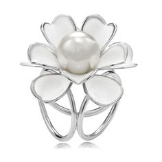 Shop for Flower Scarf Ring, OKAJewelry Flower Scarf Ring features 3 rings design Polished Silver Plated Camellia Flower Pearl Scarf Rings.
