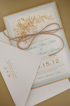 Brown and blue vintage styled invite.