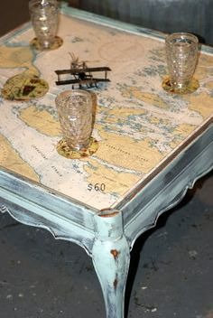 Vintage nautical charts as a table top
