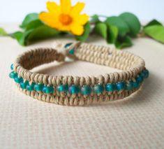 Woven Hemp Bracelet Beaded Hemp Bracelet by FlowertownOriginals, $10.00