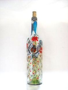 Butterfly Bottle Art on Glass Hand Painted Home Decor, Message in a Bottle