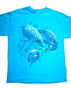 Vintage 90s Dolphins Spirit Animal Shirt Mens Size Large Made in USA. $22.00