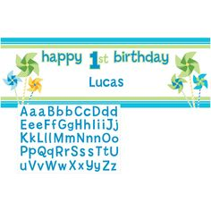 Turning One Boy 20 x 60 Inch Giant Party Banner with Stickers/Case of 6
