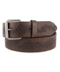 This Black Floral-Embossed Belt by Galaxy Belts is perfect! #zulilyfinds