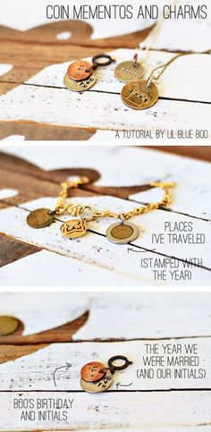 Making Mementos and Jewelry With Coins Tutorial via lilblueboo.com