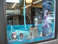 my beach themed window display at a local hair salon