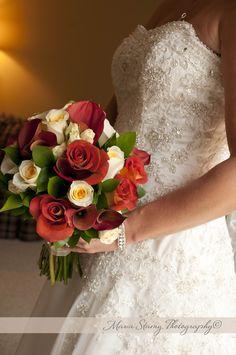 Deep warm fall wedding flower bouquet