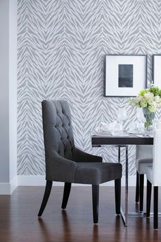Modern African design on dining room walls with Zebra Stripe stencil pattern