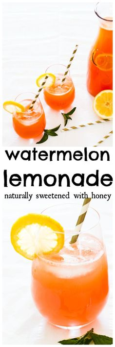 Juicy watermelons and lemons combine for the ultimate summertime lemonade. Thirst quenching and delicious. Quick and easy and naturally sweetened